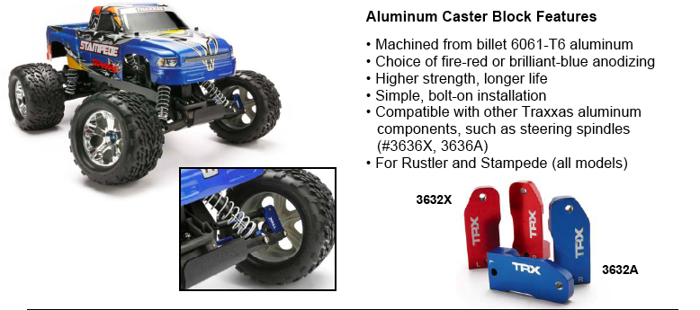 Traxxas Aluminum Caster Blocks For Stampede and Rustler ...