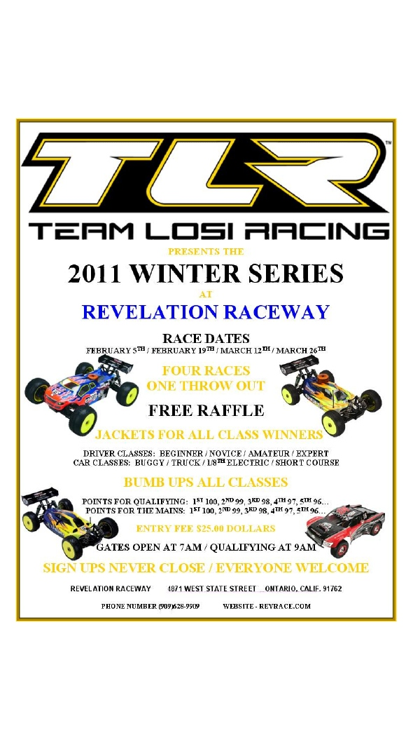 tlr, team losi racing, 2011 winter series, revelation raceway, rcca, rc car action, radio control