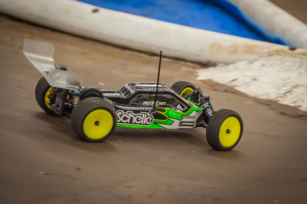 Driving hard with his Team Associated B5M.