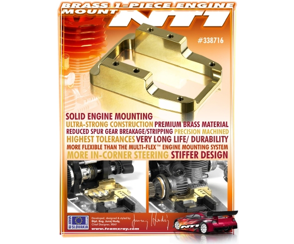 XRAY Brass 1-Piece Engine Mount for NT1