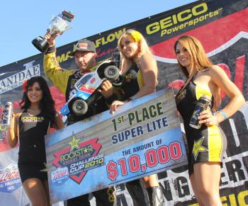 Team Associated's Kyle LeDuc wins big in the 2010 Rockstar Energy Lucas Oil Challenge Cup!
