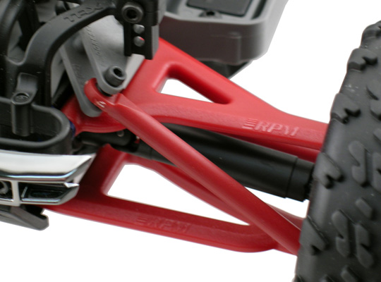 RPM 1/16th Scale Mini E-Revo Front/Rear Upper & Lower A-arms now available in Red