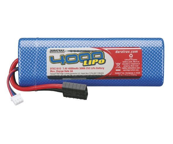 Duratrax 7.4V 4000mAh 25C LiPo with Traxxas Connector, DX450 Motorcycle Tire Options