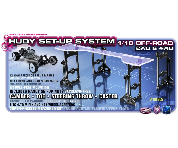 Hudy Universal Exclusive Set-Up System for 1/10 Off-Road, Aluminum Set-up Nuts