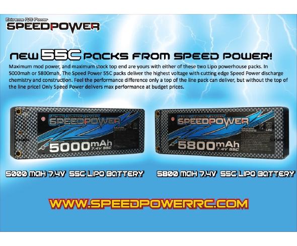 Speed Power 5000 and 5800mAh 55C Hardcase LiPo Battery Packs