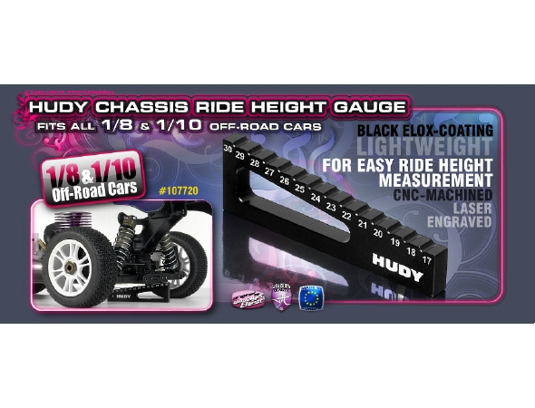 Hudy Chassis Ride Height Gauge for 1/8 & 1/10 Off-Road Vehicles