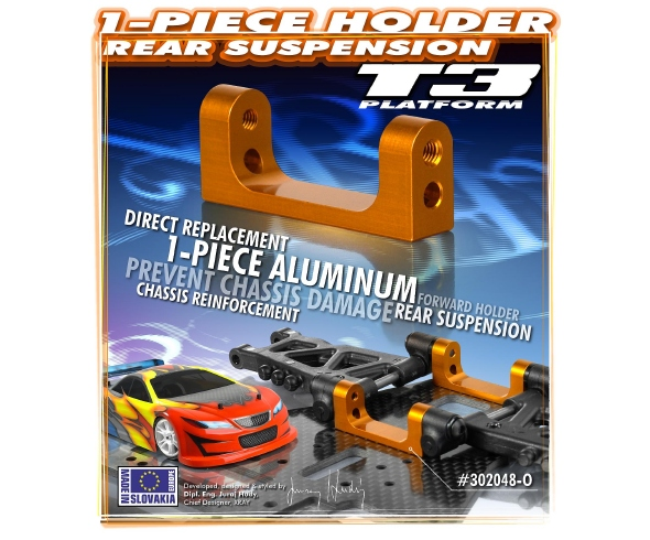 XRAY T3 Orange Aluminum Lower Rear Suspension 1-Piece Holder