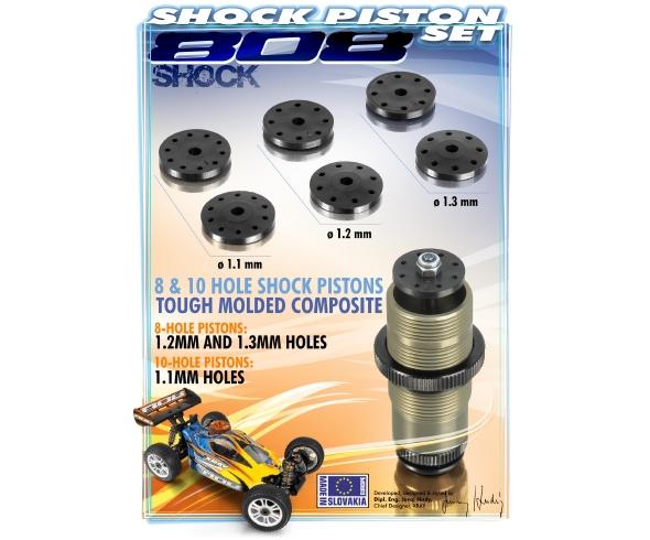 Xray XB808 Shock Piston Set 8-Hole (1.2, 1.3mm) 10-Hole (1.1mm)