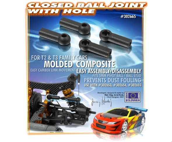 XRAY Composite Ball Joint 4.9mm – Closed with Hole (4)