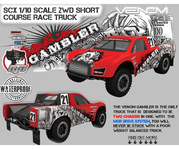 Venom Gambler 1/10 SC BL RTR Truck