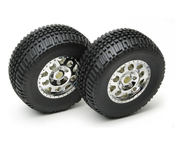 Team Associated SC10 Tires Premounted On KMC Chrome Wheels
