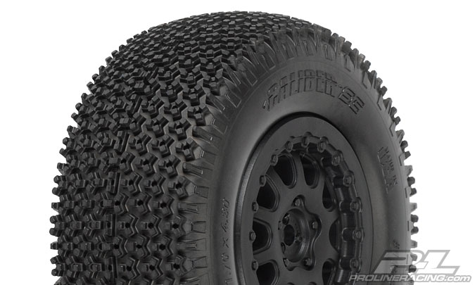 Pro-Line Caliber SC Tires Mounted On ProTrac Renegade Black Wheels