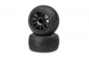 JConcepts pre-mounted tires, popular vehicles, Traxxas1/16 E-Revo and Slash, B44.1, rcca, rc car action, radio control, photo 6, barrel, all black
