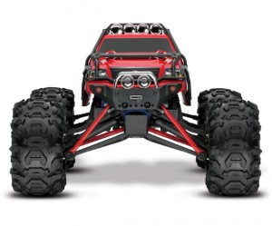 Traxxas Brushed 1/16 RTR Summi, model 7205, TQ™ AM radio system, Titan® 12T 550 motor, XL-2.5 electronic speed control, 7.2 volt NiMH battery & charger, ExoCage painted body, rcca, radio control, rc car action, photo 6, front view, bulbs