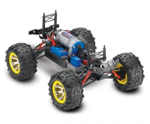 Traxxas Brushed 1/16 RTR Summi, model 7205, TQ™ AM radio system, Titan® 12T 550 motor, XL-2.5 electronic speed control, 7.2 volt NiMH battery & charger, ExoCage painted body, rcca, radio control, rc car action, photo 3, chassis, engine