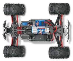 Traxxas Brushed 1/16 RTR Summi, model 7205, TQ™ AM radio system, Titan® 12T 550 motor, XL-2.5 electronic speed control, 7.2 volt NiMH battery & charger, ExoCage painted body, rcca, radio control, rc car action, photo 5, bottom, overhead