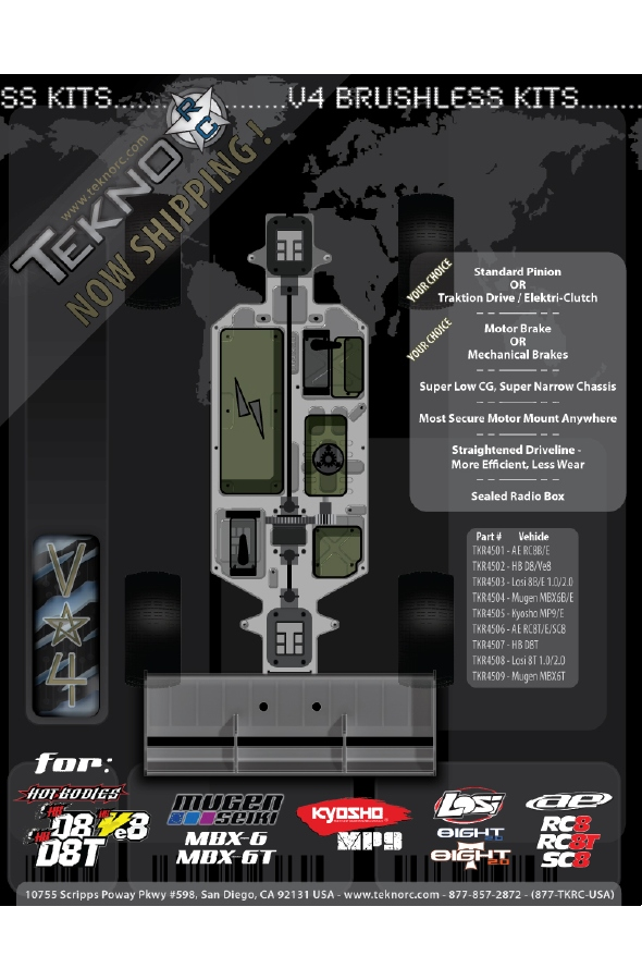 Tekno RC V4 Brushless Kits for 1/8 Vehicles