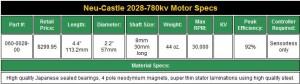 neu castle 2028-780kv, motor specs, mamba brushless system, castle creations, rcca, radio control, rc car action