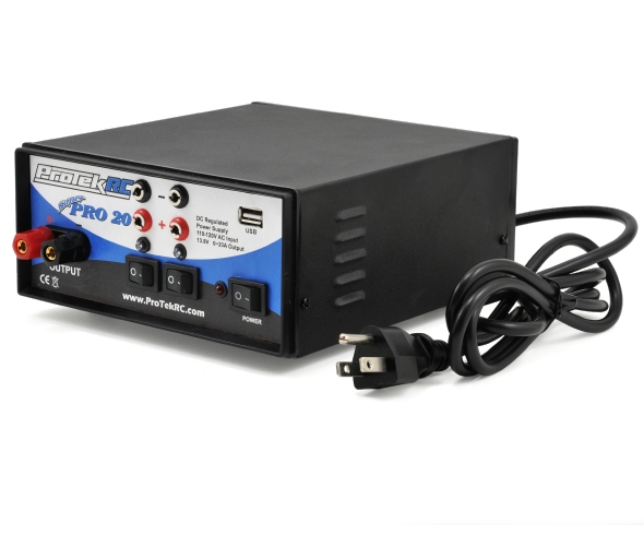 "ProTek R/C ""Super Pro 20"" Three Output Regulated DC Power Supply with USB"