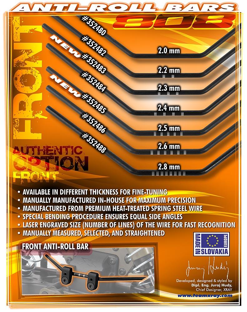 XRAY XB808 Front Anti-Roll Bars