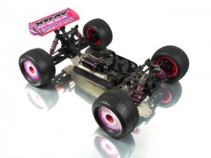XRAY XT8E 1/8 Electric Truggy Prototype, 2011 Nurnberg International Toy Show, rcca, radio control, rc car action, photo 2, black, pink