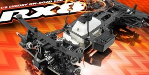 XRAY RX8 1/8 On-Road Car, rcca, radio control, rc car action, black, orange, photo 2