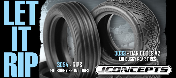 JConcepts Releases 1/10th 2wd Buggy Bar Codes V2 And Rips Tires