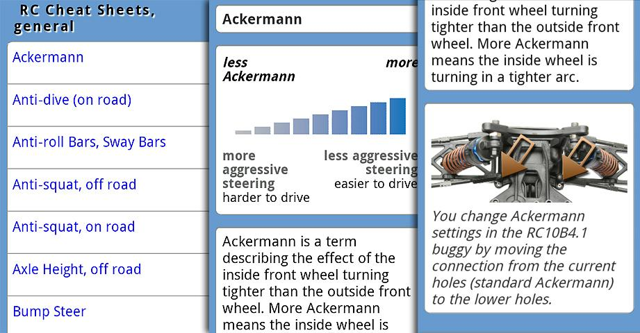 Team Associated RC Cheat Sheets Android App