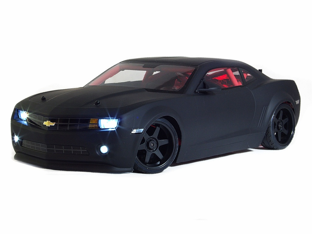 Eric Settled On One Of Hpi S Awesome New Camaro 1 10th Sedan Shells In Flat Black But Without The Drift Livery Decals That Come With Body