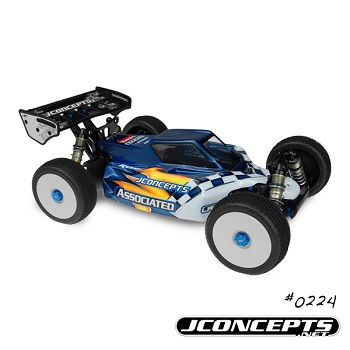JConcepts Gear: RC8.2e Punisher Body, 12mm Hex Mono Wheels And Blue Aluminum Adapters