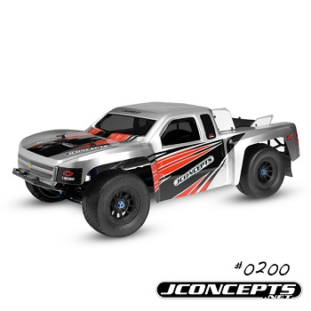 JConcepts 2012 Chevy Silverado 1500 Hi-Flow Body And SCT Premounts On Black Hazard Wheels