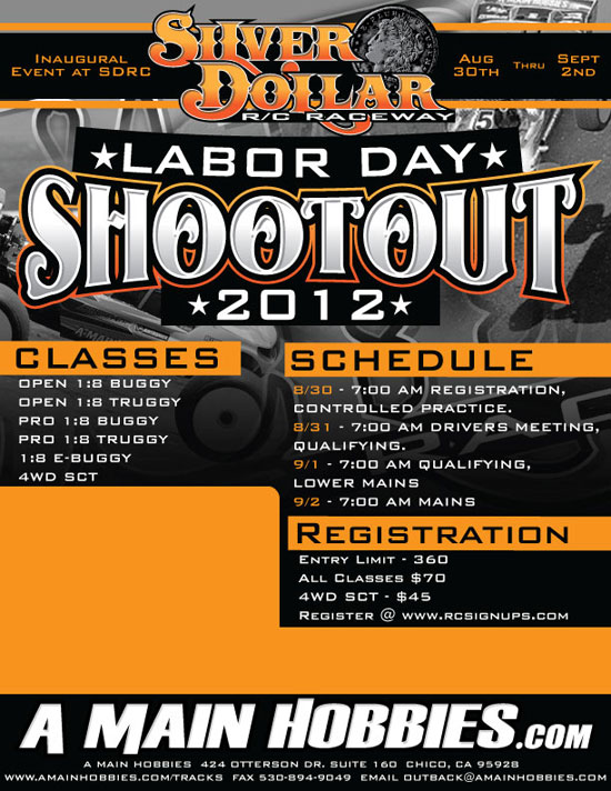 A Main Hobbies Announces the 5th Annual Labor Day Shootout at Silver Dollar RC Raceway!