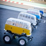 Volkswagen Wheelie Buses getting ready to start their race. They had to stop at the finish line every lap and make a wheelie!