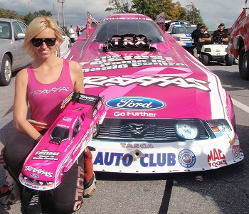 Courtney Force Presented With Special Edition Breast Cancer Awareness Traxxas Funny Car