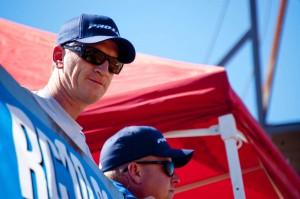 Pro-Line owner Todd Mattson and R&D director Tim Clark watching the racing action from the press tower.