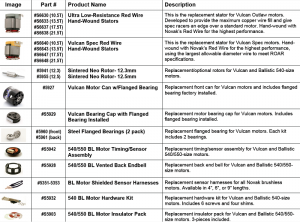 Vulcan parts list