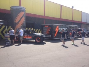 Outside the warehouse, Speed Energy had a booth set up to promote the opening round of the inaugural Stadium Super Trucks series that will be held at University of Phoenix stadium on April 6!