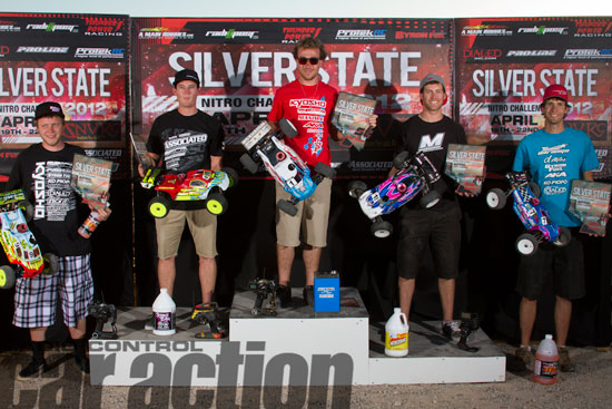 2012 Pro Truck Podium: (L to R) Cody King (4th), Ryan Cavalieri (2nd), Jared Tebo (TQ and 1st), Taylor Peterson (3rd), Ryan Lutz (5th)