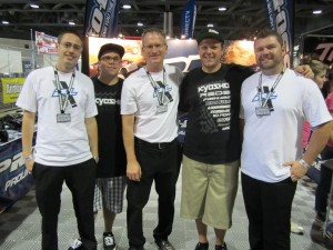Inside the Pro-Line booth, from left to right: design engineer Matt Wallace, team driver Cody Turner, CEO Todd Mattson, team driver Cody King, and customer service rep Travis Brock