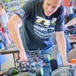 TLR's Dustin Evans is all smiles when he works on his cars.