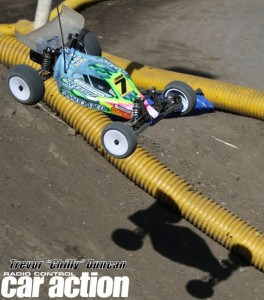 JConcepts driver Double D flies over the step up jump.