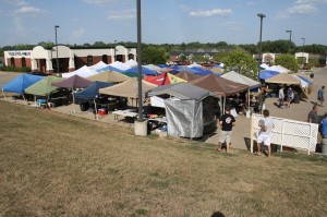 On Friday the parking lot had transformed into tent city.