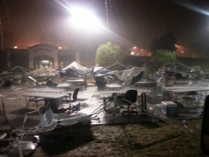 The storm in the Hobby Haven parking lot around 4am. Photo credit - R17 Racing
