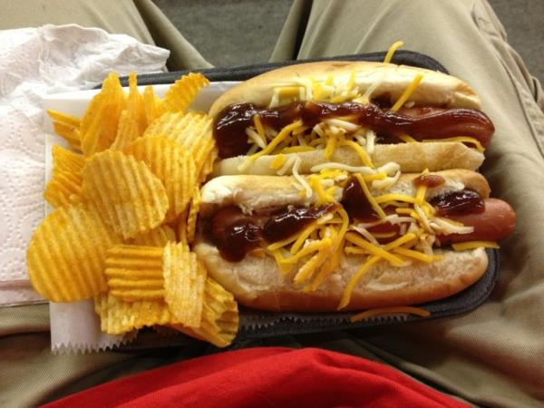 BBQ Hot Dogs!  Almost as good as the racing!