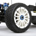 A closwer look at Losi's new 1/5 rally tires and wheels.