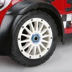 Tucked up under those wheel flares are a set of all new rally tires and wheels designed specifically for the Mini.