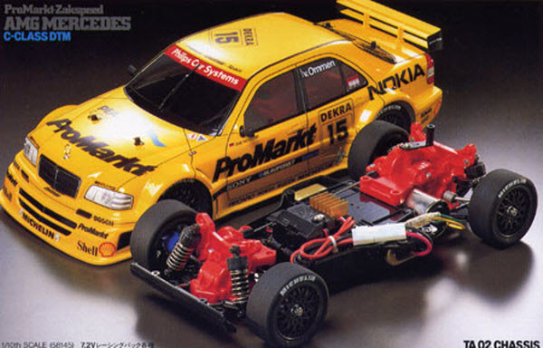 This old-school Mercedes AMG C-Class DTM body on Tamiya's old TA02 chassis is drool worthy.