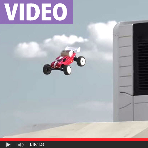 Lee Martin Jumps His Mugen Truggy Over Two Semis For McDonalds UK