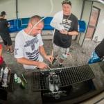 The drivers were in full clean up mode.Travis Amezcua and Adam Drake scrubbing.
