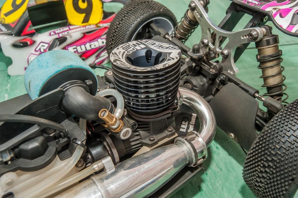 Hara's O.S. nitro engine.